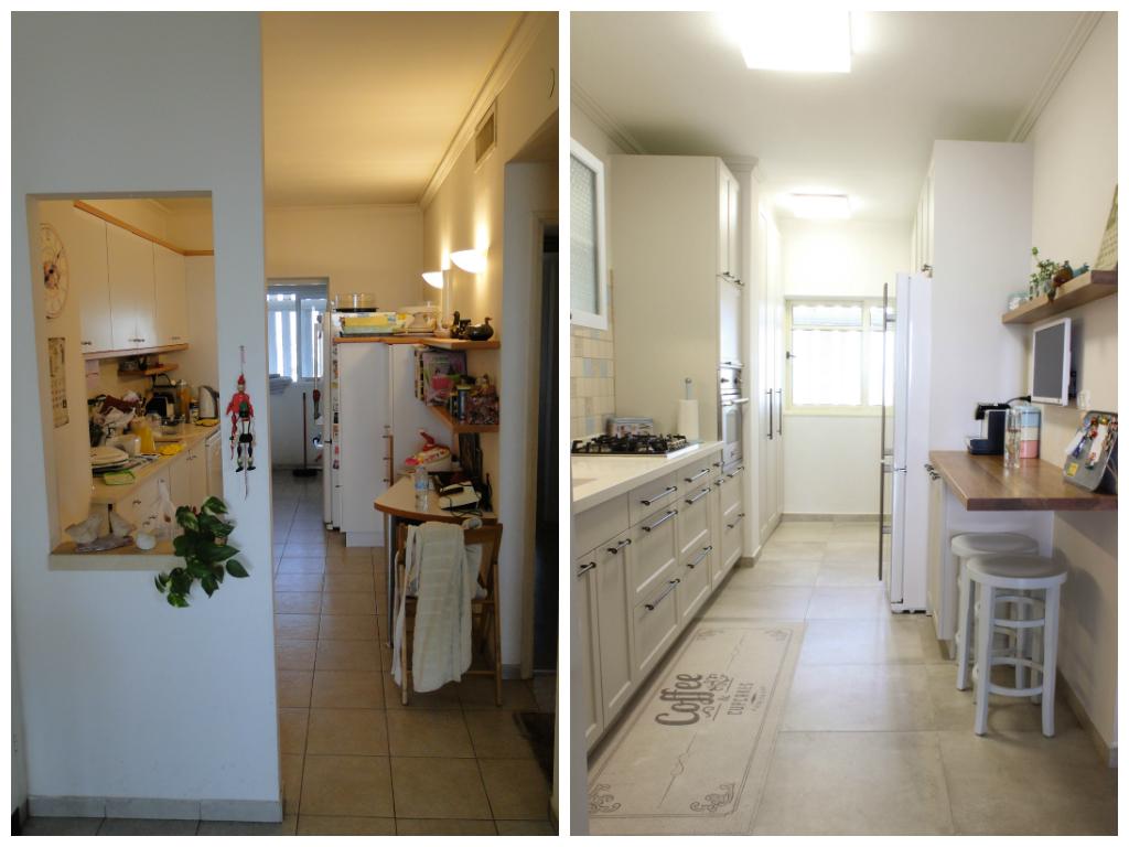 המטבח לפני ואחרי. מצפוף וקטן למרווח ומואר ובעל מקומות אחסון רבים. עיצוב פנים: רעות בראל. הום סטיילינג: רוית רוד צילום: רוית רוד