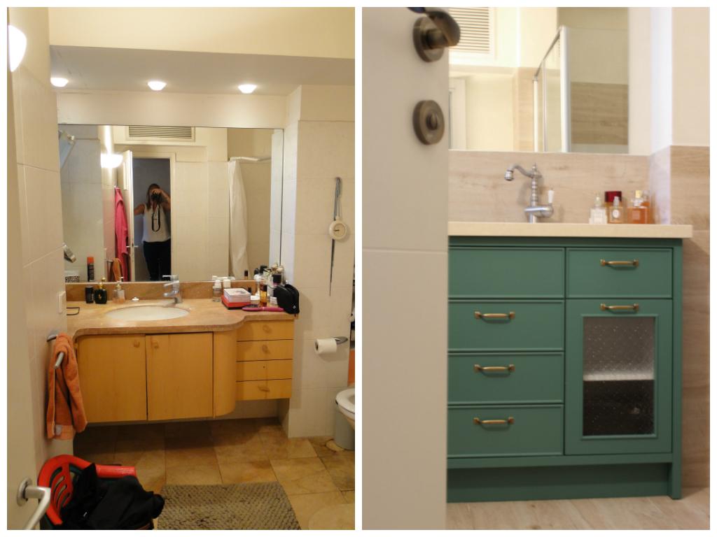 חדר האמבטיה לפני ואחרי. מלבד החלפת צנרת ואריחים, האמבטיה הוחלפה במקלחון מרווח. עיצוב פנים: רעות בראל. הום סטיילינג: רוית רוד צילום: רוית רוד