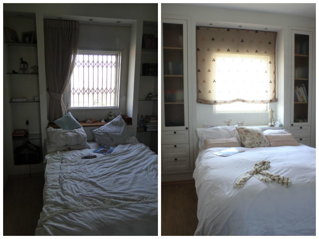 חדר השינה לפני ואחרי. עיצוב פנים: רעות בראל. הום סטיילינג: רוית רוד צילום: רוית רוד