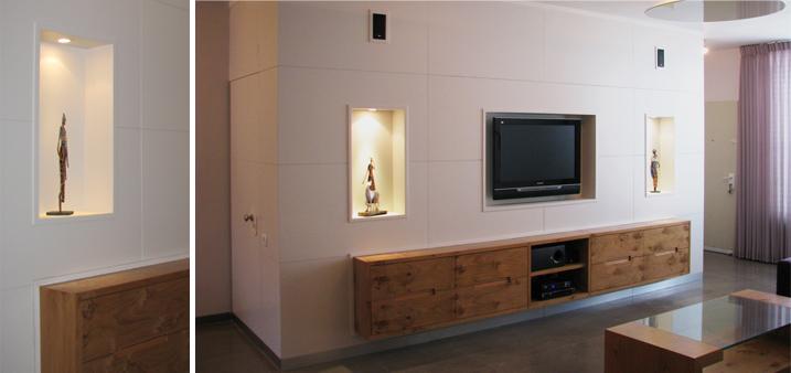 עיבוי הקיר ויצירת נישות באמצעות עבודת נגרות. אלטרנטיבה מהודקת לגבס. www.amani.co.il