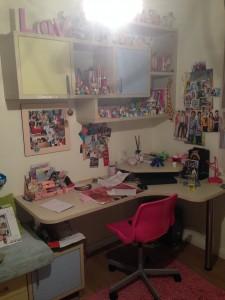 חדרה של אופיר לפני. כיאה למתבגרת, אוספים רבים מפוזרים ברחבי החדר.