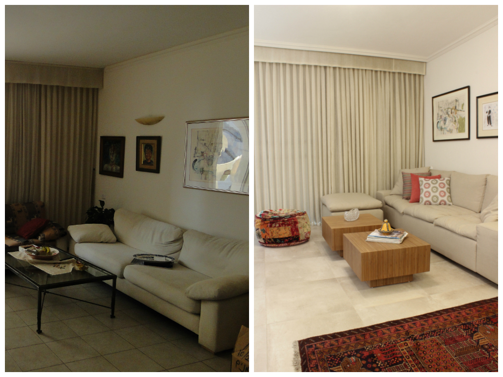 הסלון לפני ואחרי. עיצוב פנים: רעות בראל. הום סטיילינג: רוית רוד