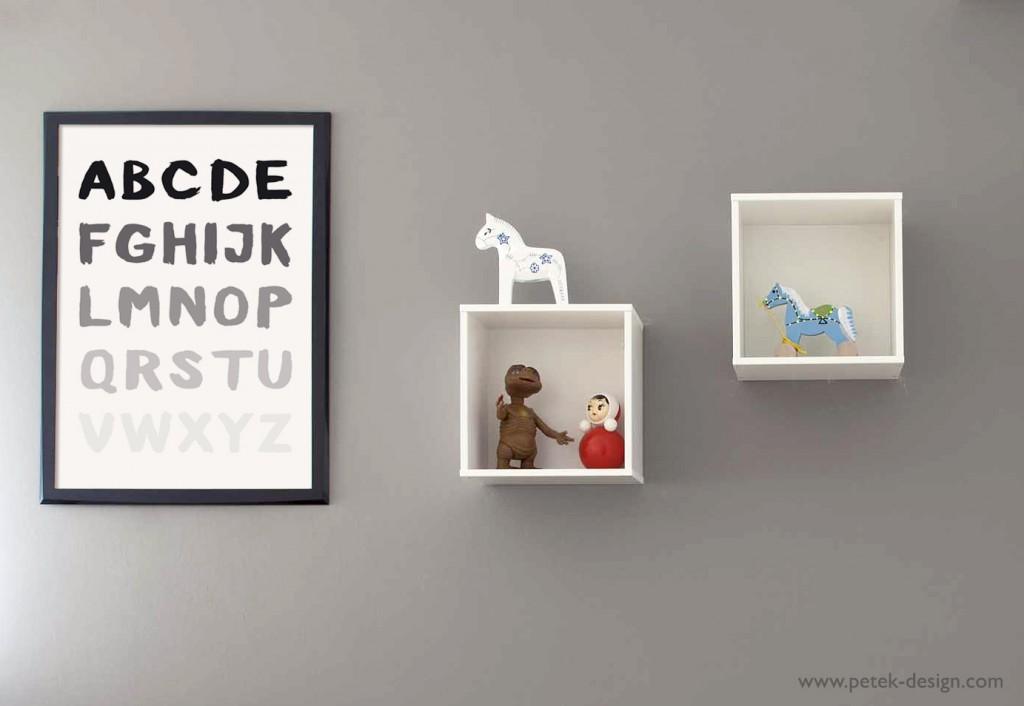 פוסטר ABC לחדר הילדים או לחדר העבודה.  עיצוב: Petek design