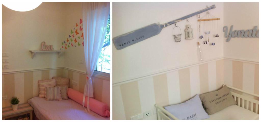 אחד מעיצובי הראשונים, חדר משותף לבן ולבת