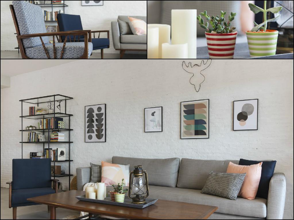 הסלון החדש מכיל בדיוק מה שצריך. רטרו-וינטג'-וסקנדינבי על רקע קיר המדמה קיר לבנים חשוף למראה תעשייתי. צילום: מאיה חבקין