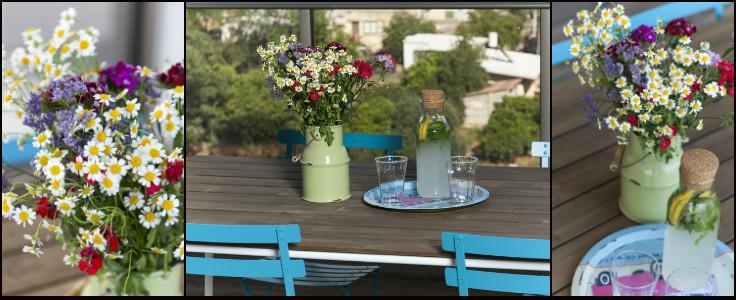 המרפסת יוצרת המשכיות צבעונית לפנים הבית.